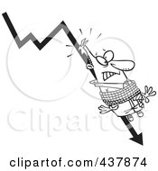 Royalty Free RF Clip Art Illustration Of A Black And White Outline Design Of A Businessman Tied To A Plumeting Arrow