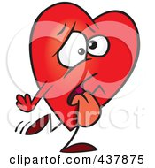 Royalty Free RF Clip Art Illustration Of A Tired Heart Walking by toonaday