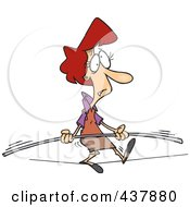 Royalty Free RF Clip Art Illustration Of A Cartoon Businesswoman Trying To Maintain Balance On A Tight Rope by toonaday