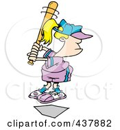 Royalty Free RF Clip Art Illustration Of A Little Blond Girl Up For Bat by toonaday
