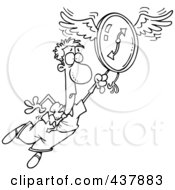 Royalty Free RF Clip Art Illustration Of A Black And White Outline Design Of A Man Flying Away With A Clock by toonaday
