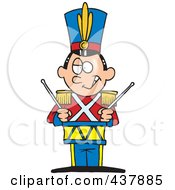 Royalty Free RF Clip Art Illustration Of A Tin Soldier Drumming by toonaday