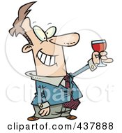 Royalty Free RF Clip Art Illustration Of A Cartoon Businessman Toasting by Ron Leishman