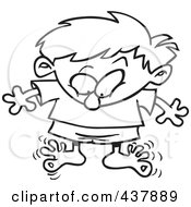 Royalty Free RF Clip Art Illustration Of A Black And White Outline Design Of A Boy Wiggling His Toes