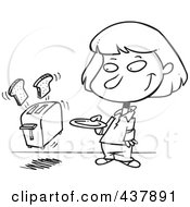 Royalty Free RF Clip Art Illustration Of A Black And White Outline Design Of A Girl Holding A Plate For Her Toast Popping Out Of A Toaster