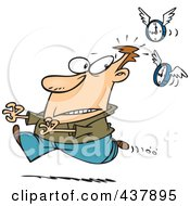 Royalty Free RF Clip Art Illustration Of Flying Clocks Chasing A Man