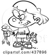 Royalty Free RF Clip Art Illustration Of A Black And White Outline Design Of A Tomboy Girl Holding A Frog by toonaday
