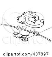 Royalty Free RF Clip Art Illustration Of A Black And White Outline Design Of A Boy Walking On A Tight Rope by toonaday