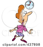 Royalty Free RF Clip Art Illustration Of A Sneaky Cartoon Businesswoman Tip Toeing Late To Work