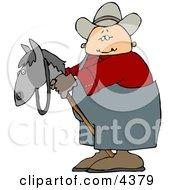 Preteen Cowboy Riding A Toy Stick HorsePony Clipart