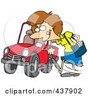 Royalty Free RF Clip Art Illustration Of A Cartoon Woman Kicking A Tire On A Ca