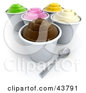 Cups Of Various Flavored Frozen Yogurt