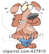 Royalty Free RF Clip Art Illustration Of A Dog Trying To Squeeze Into Tight Pants by toonaday