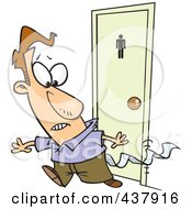 Royalty Free RF Clip Art Illustration Of A Cartoon Businessman Leaving A Bathroom With Tissue Stuck To His Pants by toonaday