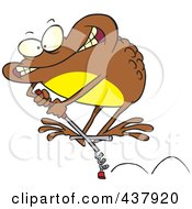 Royalty Free RF Clip Art Illustration Of A Brown Toad On A Leap Stick by toonaday
