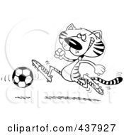 Black And White Outline Design Of A Tiger Playing Soccer