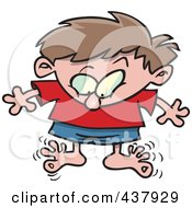 Royalty Free RF Clip Art Illustration Of A Cartoon Boy Wiggling His Toes