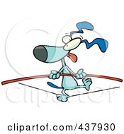 Royalty Free RF Clip Art Illustration Of A Blue Dog Walking On A Tight Rope by toonaday