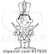 Royalty Free RF Clip Art Illustration Of A Black And White Outline Design Of A Tin Soldier Drumming by toonaday
