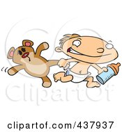 Royalty Free RF Clip Art Illustration Of A Toddler Boy Running With A Bottle And Teddy Bear by Ron Leishman
