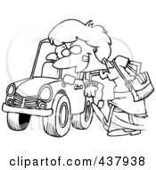 Royalty Free RF Clip Art Illustration Of A Black And White Outline Design Of A Woman Kicking A Tire On A Ca