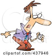 Royalty Free RF Clip Art Illustration Of A Cartoon Businessman Using A Stop Watch