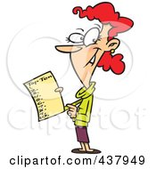 Royalty Free RF Clip Art Illustration Of A Woman Holding A Top Ten List