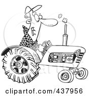 Royalty Free RF Clip Art Illustration Of A Cartoon Black And White Outline Design Of A Tractor Driver