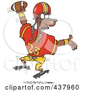 Royalty Free RF Clip Art Illustration Of A Black Male Football Player Scoring A Touchdown by toonaday