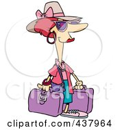 Royalty Free RF Clip Art Illustration Of A Cartoon Female Tourist Carrying Purple Luggage by toonaday
