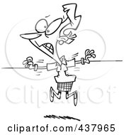 Royalty Free RF Clip Art Illustration Of A Black And White Outline Design Of A Torn Businesswoman Being Pulled Two Ways