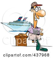Cartoon Male Cruise Tourist Posing By The Boat