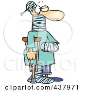 Royalty Free RF Clip Art Illustration Of A Cartoon Man Using A Crutch For Traction