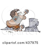 Royalty Free RF Clip Art Illustration Of A Caveman Using Stones To Type On A Computer by toonaday