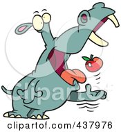 Royalty Free RF Clip Art Illustration Of A Hippo Tossing An Apple Into His Mouth by toonaday