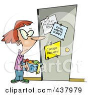 Royalty Free RF Clip Art Illustration Of A Cartoon Mother Holding Laundry Outside Her Teenagers Room by toonaday