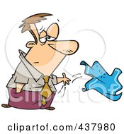 Royalty Free RF Clip Art Illustration Of A Cartoon Sad Businessman Throwing In The Towel by toonaday