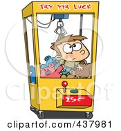 Royalty Free RF Clip Art Illustration Of A Cartoon Boy Stuck In A Toy Machine by toonaday