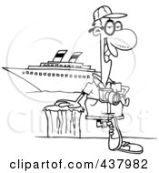 Cartoon Black And White Outline Design Of A Male Cruise Tourist Posing By The Boat