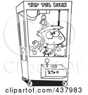 Royalty Free RF Clip Art Illustration Of A Cartoon Black And White Outline Design Of A Boy Stuck In A Toy Machine
