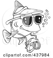 Royalty Free RF Clip Art Illustration Of A Cartoon Black And White Outline Design Of A Fish Tourist Swimming With A Camera