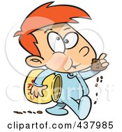 Royalty Free RF Clip Art Illustration Of A Cartoon Boy Leaving A Trail Of Cookie Crumbs by Ron Leishman