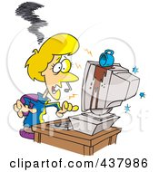 Royalty Free RF Clip Art Illustration Of A Coffee Spilling On A Womans Computer by Ron Leishman