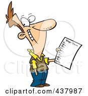 Royalty Free RF Clip Art Illustration Of A Man Holding A Top Ten List by toonaday