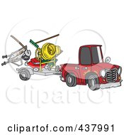 Royalty Free RF Clip Art Illustration Of A Cartoon Truck Pulling A Trailer With Landscape And Concrete Equipment by toonaday