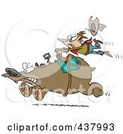 Poster, Art Print Of Tough Rodeo Cowboy Riding A Bear
