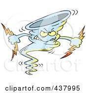 Royalty Free RF Clip Art Illustration Of A Tornado Holding Lightning Bolts by toonaday