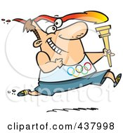 Royalty Free RF Clip Art Illustration Of A Man Running With A Torch