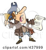 Royalty Free RF Clip Art Illustration Of A Cartoon Town Crier Ringing A Bell