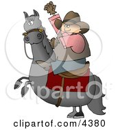 Cowboy Riding A Bucking BroncoHorse Clipart